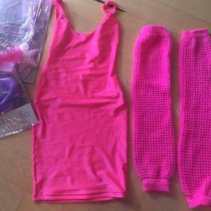 American apparel dress leg warmers neon pink